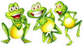 Three smiling frogs — Stock Vector
