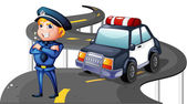 A police and his patrol car in the middle of the road — Stock Vector