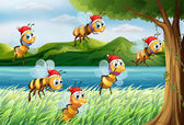 A group of bees going to the tree at the riverbank — Stock Vector