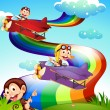 A sky with a rainbow and planes with monkeys — Stock Vector