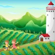 Kids playing at farm — Vector de stock #38831391