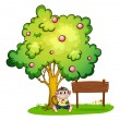 Stock Vector: Monkey under tree beside empty wooden signboard