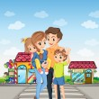 A family at the pedestrian lane — Stock Vector #38831573