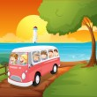 Stock Vector: Pink schoolbus travelling