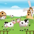 Stock Vector: Cows at hilltop with windmill