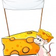 A mouse carrying a slice of cheese below the empty banner — Stock Vector #38831941