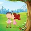 Sweet couple under tree — Vector de stock #38831983