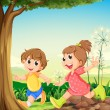 Stock Vector: Two adorable kids playing under the tree