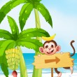 A beach with a monkey near the banana plant — Stock Vector #38832239