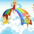 Stock Vector: Fairies above sky near rainbow