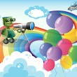 Stock Vector: Robots in sky with rainbow and balloons