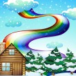 Stock Vector: A wooden house near the pine trees with a rainbow uphigh