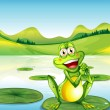 Stock Vector: Smiling frog above waterlily at pond