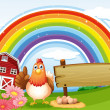Hen beside empty board at farm with rainbow — Stock Vector #38833511