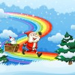 Santa and his sleigh walking at the rainbow — Stock Vector #38833561