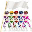 Five superheroes and an empty banner — Stock Vector