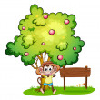 Stock Vector: Playful monkey beside empty signboard under tree