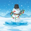 A snowman above an iceberg with a pail above its head — Vector de stock