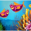 Fishes under the sea near the colorful corals — Stock Vector