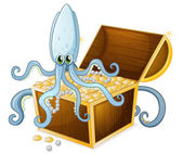 An octopus above the treasure box — Stock Vector