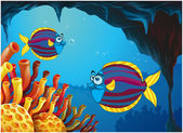 Two colorful fishes inside the cave under the sea — Stock Vector