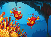 Two fishes under the sea near the coral reefs — Stock Vector