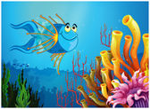 A blue fish under the sea near the coral reefs — Stock Vector