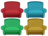 Four colorful couches — Stock Vector