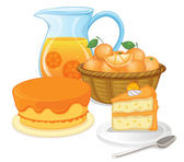 Cakes and juice drinks — Stock Vector