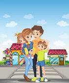 A family at the pedestrian lane — Stock Vector
