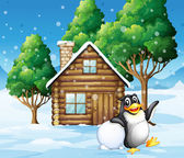 A penguin in front of the wooden house — Stock Vector