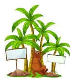 A brown sealion in the middle of the signboards — Stock Vector