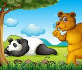A white bear sleeping soundly and a brown bear under the tree — Stok Vektör