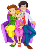 A happy family sitting on a couch — Stock Vector