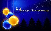 Plantilla con cuatro bolas de navidad feliz — Vector de stock