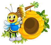 A happy bee playing with the honey near the beehive — Stock Vector