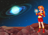 A lady superhero at the outerspace — Vector de stock