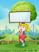 A young girl beside the empty wooden board at the hilltop — Stock Vector