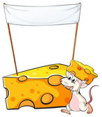 A mouse carrying a slice of cheese below the empty banner — Stock Vector