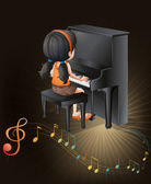 A female musician playing with the piano — Stock Vector