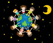 Kids around the Earth — Stock Vector