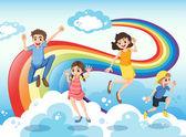 A happy family near the rainbow — Stock Vector
