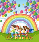 A multi-wheeled bike below the floating balloons near the rainbo — Stock Vector