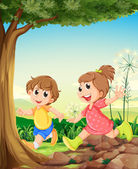 Two adorable kids playing under the tree — Stock Vector