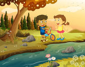 A boy and a girl with a bike standing at the riverbank — Stock Vector