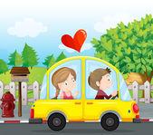 A couple riding on a yellow car — Stock Vector