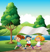 Kids running near the riverbank while bringing an empty banner — Stock Vector