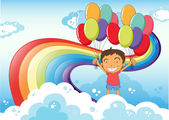A boy with balloons standing near the rainbow — Stock Vector