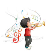 A talented young boy playing with the trumpet — Stock Vector