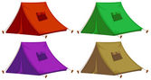 Four colorful tents — Stock Vector